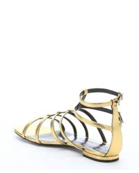 Saint Laurent - Metallic-Leather Gladiator Sandals - Lyst