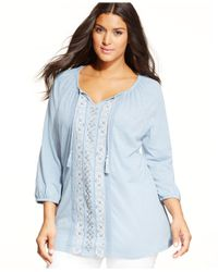 Style & Co. | Blue Plus Size Embellished-panel Peasant Top | Lyst