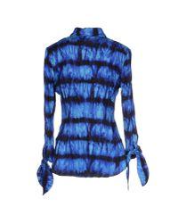 Roberto Cavalli - Blue Peacock Wrinkled Tie Dye Silk Top - Lyst