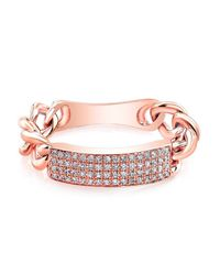 Anne Sisteron - Metallic 14kt Rose Gold Diamond Id Tag Ring - Lyst