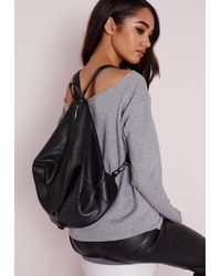Missguided - Zip Detail Rucksack Black - Lyst