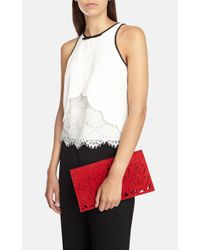 Karen Millen | Red Cutwork Clutch | Lyst