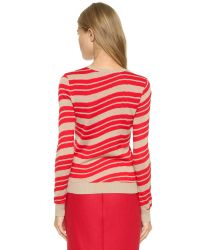 Carven - White Long Sleeve Sweater - Rouge - Lyst