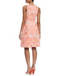 Carolina Herrera - Pink Sleeveless Hydrangea-print A-line Dress - Lyst
