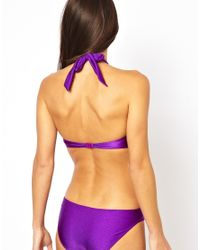 ASOS | Purple Twist Knot Front Swimsuit | Lyst