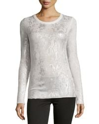 Philosophy Cashmere Metallic Cashmere Pullover Sweater W/ Foil Snake Print