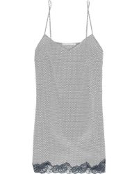 Stella McCartney Gray Ellie Leaping Printed Stretch-silk Crepe De Chine Chemise