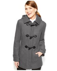 Calvin Klein - Gray Faux-leather-trim Toggle Wool-blend Coat - Lyst
