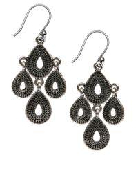 Lucky Brand | Metallic Silver Quad Coin Drop Earrings | Lyst