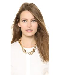 Tory Burch - Metallic Hexagon Short Necklace Shiny Goldtory Silver - Lyst