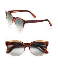 Cutler & Gross - Gray Half-rim 52mm Cat Eye Sunglasses - Lyst