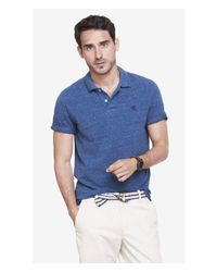Express | Blue Nep Knit Small Lion Pique Polo for Men | Lyst