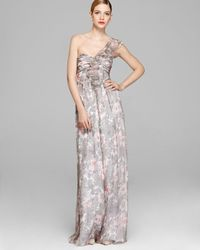 Amsale - Multicolor Gown Ruffle Front Chiffon One Shoulder - Lyst