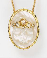 "Alexis Bittar - Metallic Elements Skull Cameo Pendant Necklace, 32"" - Lyst"