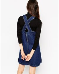 ASOS - Denim Pinafore Dress With Patch Pockets In Rich Blue - Lyst