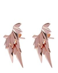 Maria Black - Metallic Rose Gold-plated Wing Jacket Stud Earrings - Lyst