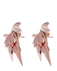 Maria Black | Metallic Rose Gold-plated Wing Jacket Stud Earrings | Lyst