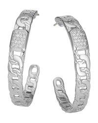 John Hardy - Metallic Classic Chain Silver Diamond Pave Medium Hoop Earrings - Lyst