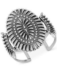 Lucky Brand | Metallic Silver-tone Oval Cuff Bracelet | Lyst