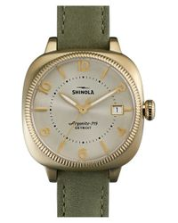 Shinola - Metallic 'gomelsky' Square Leather Strap Watch - Lyst