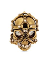 Alexander McQueen - Metallic Gold Tone Swarovski Crystal Skull Ring - Lyst