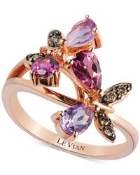 Le Vian | Pink Multi-Stone And Diamond Accent Butterfly Ring In 14K Rose Gold (1-1/6 Ct. T.W.) | Lyst