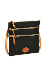 Dooney & Bourke | Black Triple Zip Nylon Crossbody Bag | Lyst