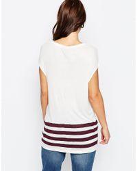 ASOS - White T-shirt In Slouchy Rib With Stripe Hem - Lyst