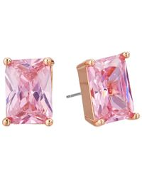 Betsey Johnson | Metallic Cz Pink Stud Earrings | Lyst
