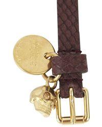 Alexander McQueen | Brown Burgundy Leather Wrap Bracelet for Men | Lyst