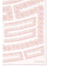 Valentino - Pink Lace Print Silk Scarf - Lyst