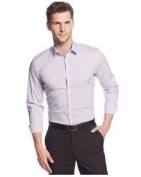 Calvin Klein - Purple Shadow-Check Slim-Fit Shirt for Men - Lyst