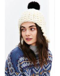 Urban Outfitters | White Faux Fur Pompom Ear Flap Beanie | Lyst