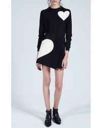 MSGM | Black Felted Wool Heart Intarsia Wrap Skirt | Lyst