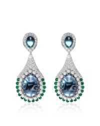 Abellan New York - Multicolor One Of A Kind Diamond, Emerald, Blue Topaz Earrings - Lyst