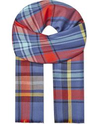 Johnstons | Blue Buffalo Checked Merino Wool Scarf for Men | Lyst