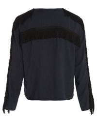 Libertine-Libertine - Blue Navy Long Sleeved Tassle Detail Top - Lyst