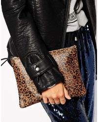 Falconwright - Brown Leather Clutch Leopard Print - Lyst