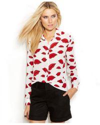 INC International Concepts   White Lip-Print Shirt   Lyst