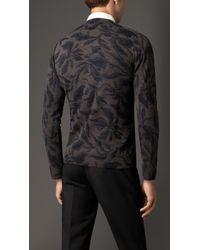 Burberry | Multicolor Leaf Print Wool Silk Sweater for Men | Lyst