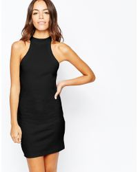 Daisy Street | Black Halter Neck Rib Bodycon Dress | Lyst