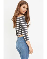 Forever 21 | Gray Striped Crop Top | Lyst