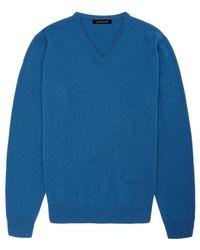 Jaeger | Blue Cashmere V-neck Sweater for Men | Lyst