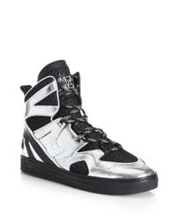 Marc By Marc Jacobs | Metallic Ninja Leather & Textile High-top Sneakers | Lyst