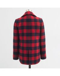 J.Crew - Red Factory Buffalo Plaid Peacoat - Lyst