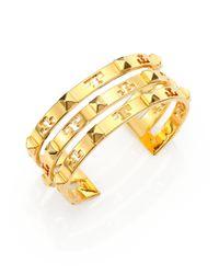 Tory Burch | Metallic Stacked Logo Stud Cuff Bracelet | Lyst