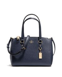 COACH | Blue Textured Leather Satchel | Lyst