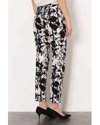 TOPSHOP - Black Pleat Flower Cigarette Trousers - Lyst