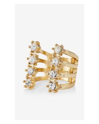 Express | Metallic Open Rhinestone Edge Ring | Lyst