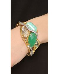 Alexis Bittar - Green Multi Stone Ecrusted Vine Hinge Bracelet - Lyst